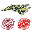 military camouflage collage of map of north vector image vector image