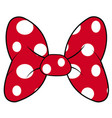perfect bow of red fabric white dots pattern vector image vector image