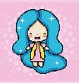 pixel art cute girl vector image