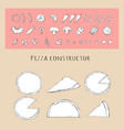 pizza different types setslice for design vector image