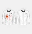 realistic shirts before and after washing vector image vector image