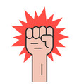 revolution protest with outline hand vector image