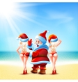 Santa Claus and two girls vector image