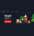 santa holding knitted sweater near fir tree with vector image