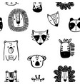 seamless childish pattern with cute ink drawn vector image
