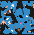seamless pattern with young graduate students in vector image vector image