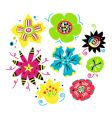 set of funky flowers vector image vector image