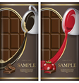 Set of label for dark chocolate with coffe and vector image vector image