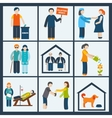 Social services icons set vector image