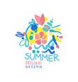 summer logo original design summer season label vector image vector image