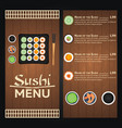 sushi menu design template vector image