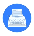 Typewriter icon in black style isolated on white vector image vector image