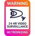 video surveillance 24hr cctv poster for print vector image