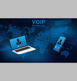 voip call system voice phone technology vector image vector image