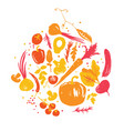 yellow-red colored various of vegetables in circle vector image