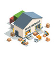warehouse building trucks and load machines vector image