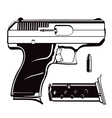 9mm black and white handgun vector image