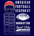 american football graphic tee vector image vector image