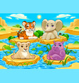 baby cute jungle animals in a natural landscape vector image vector image