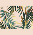 background with gold green palm leaves glitter vector image