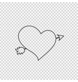 black outline heart pierced with arrow on vector image vector image