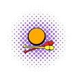 Bowling ball and pins icon comics style vector image
