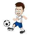 boy soccer player in blue shorts vector image