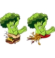 Broccoli vs burger and French fries healthy food vector image vector image