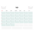 calendar planner template for 2018 year vector image vector image
