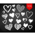 Chalk drawn collection of Valentine hearts