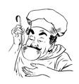 chef tastes food line art vector image vector image