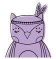 color cute owl animal with feathers decoration vector image