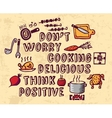 Cooking poster positive thing and objects color vector image vector image