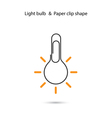 Creative light bulb logo designPaper clip sign vector image vector image