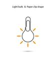 Creative light bulb logo designPaper clip sign vector image