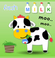 cute cow cartoon with milk bottles vector image vector image