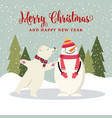 cute flat design christmas card with snowman and vector image vector image