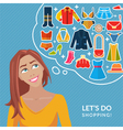 Cute young girl and thought bubble with clothes vector image vector image