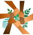 diverse nature help team hands with green leaf vector image vector image