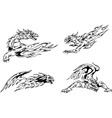 Dragon tattoos with flames vector image vector image