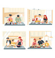 family cooking food or dinner at home kitchen vector image