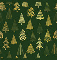 gold foil doodle christmas trees seamless vector image