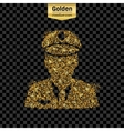 Gold glitter icon of police isolated on vector image