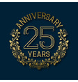 Golden emblem of twenty fifth years anniversary vector image vector image