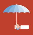 hand holding umbrella vector image vector image