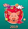 happy oriental card for chinese new year 2019 vector image vector image