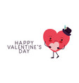 happy valentines day with heart love kawaii vector image vector image