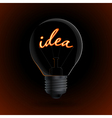 Lightbulb with Idea sign on a dark background vector image vector image
