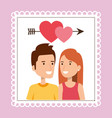 lovers couple with heart and arrow vector image vector image