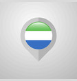 map navigation pointer with sierra leone flag vector image vector image